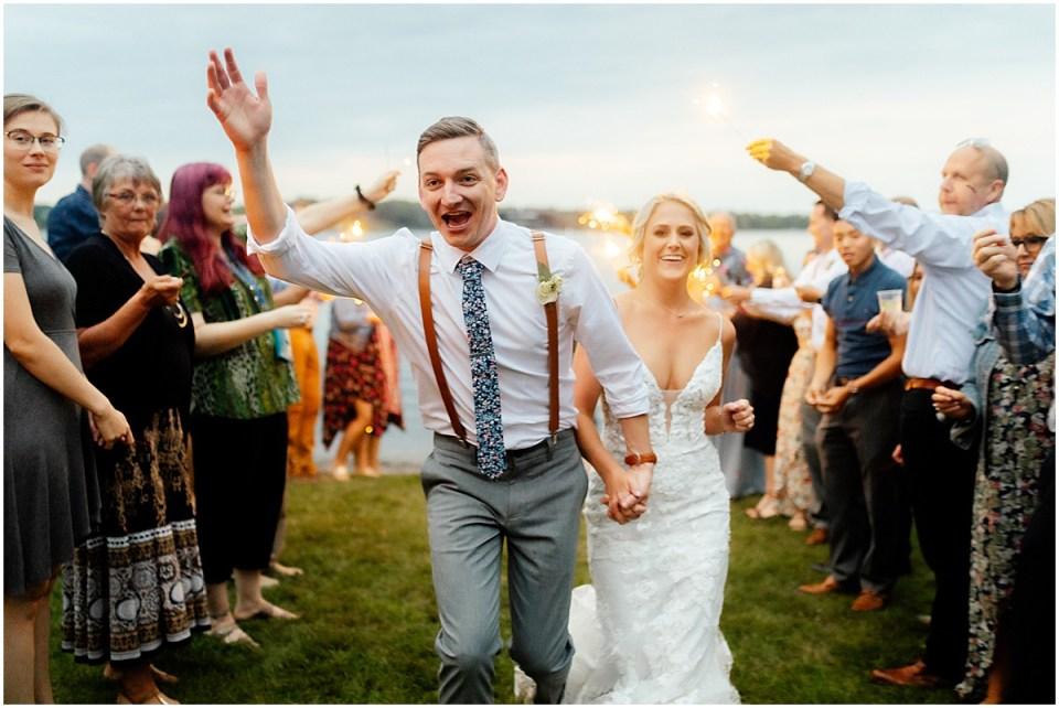 Minnesota wedding sparkler exit