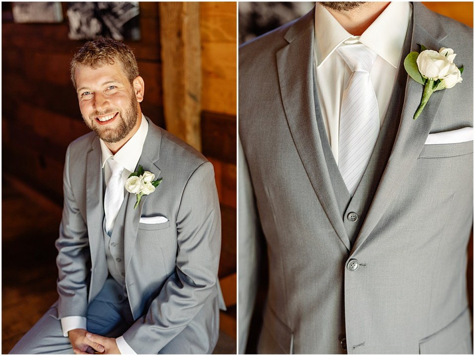 Groom's details with suit from Milbern Clothing Co and florals by Bachman's