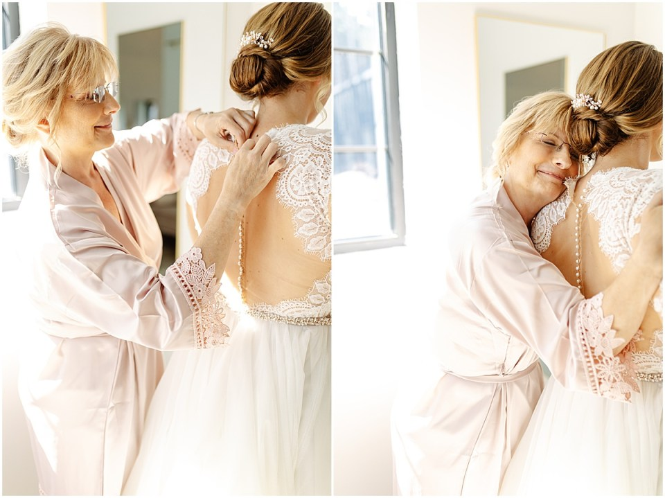 Bride and mom in bridal suite at Pinewood Weddings & Events