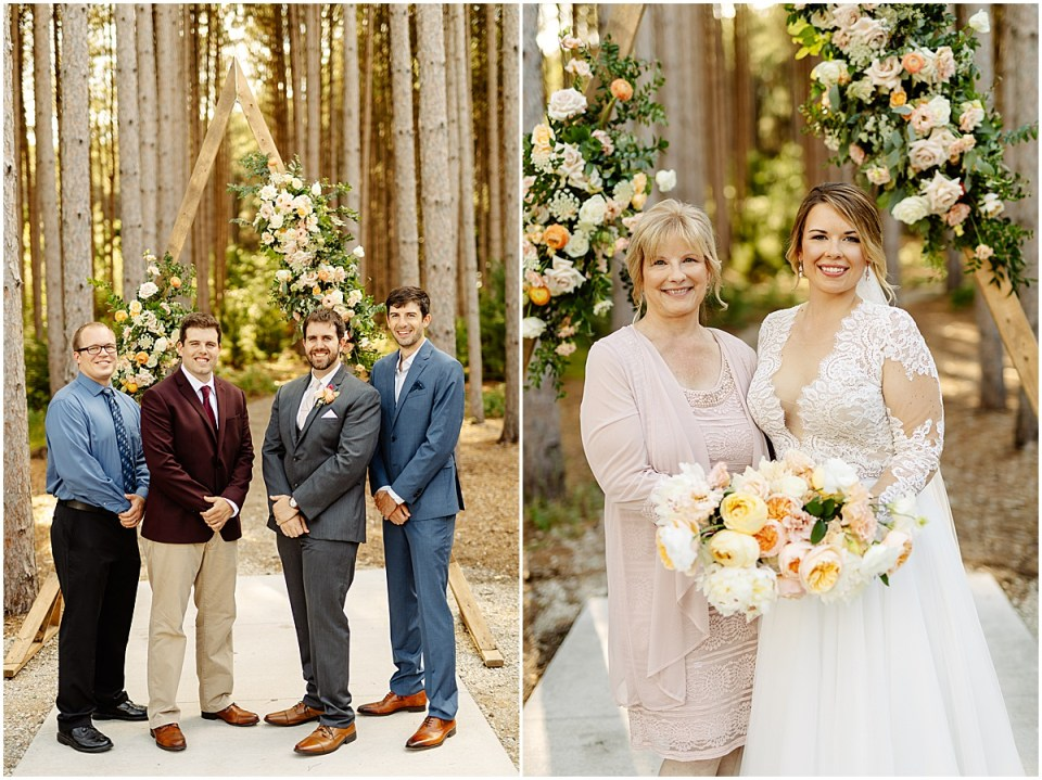 Family photos outside of Pinewood Weddings & Events