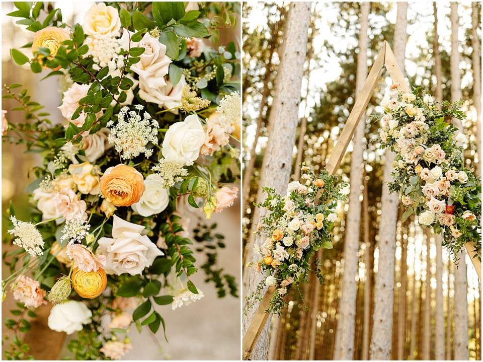 floral triangle arch by Ashley Skeie at Pinewood Weddings & Events