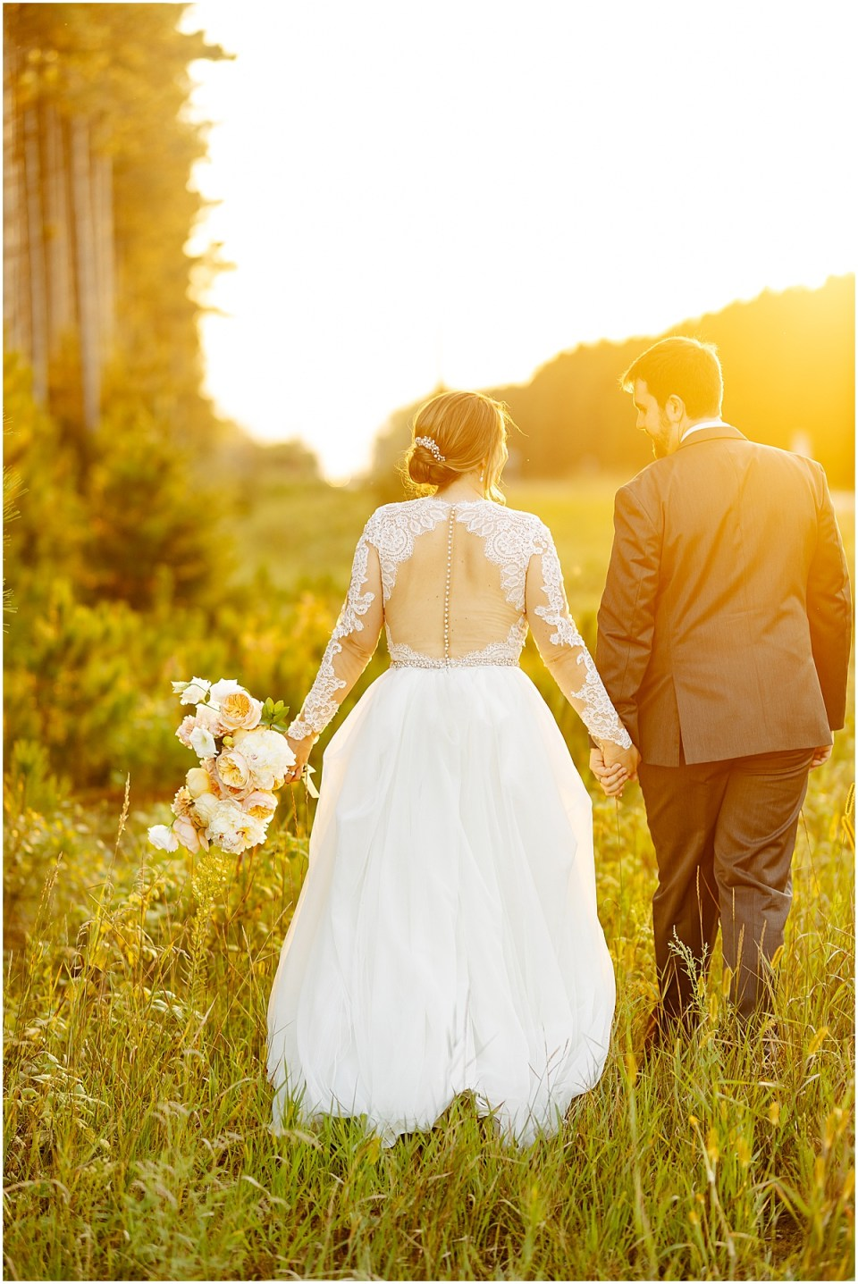 Pinewood Weddings & Events golden hour husband and wife portraits