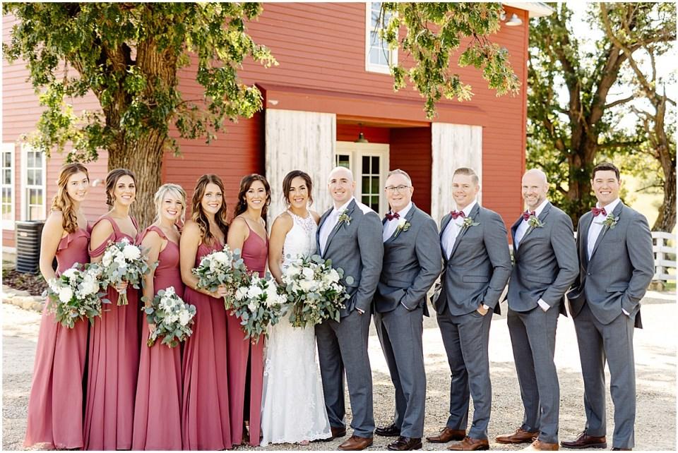 bridal party at Almquist Farm MN