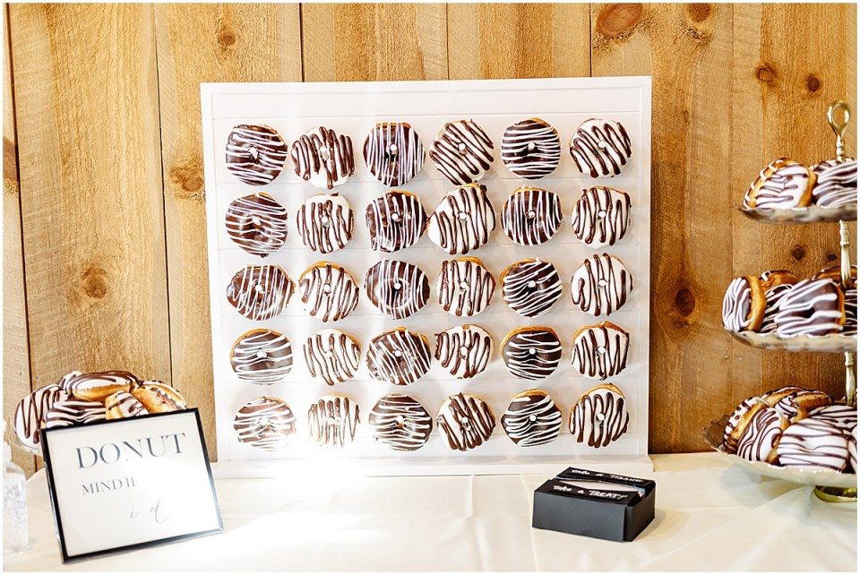 Wedding donuts display at Almquist Farm MN