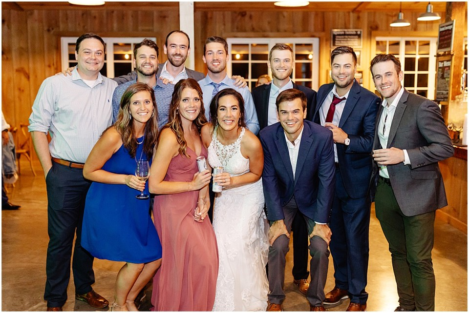 wedding group picture inside Almquist Farm MN