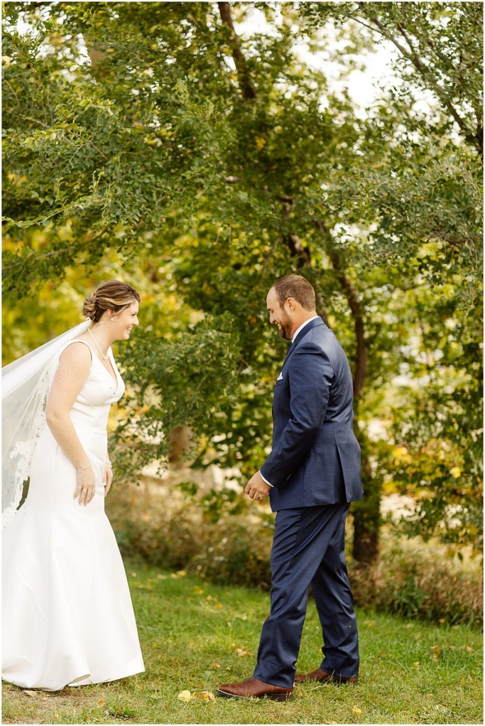 wedding portrait and first look at red barn farm in northfield minnesota