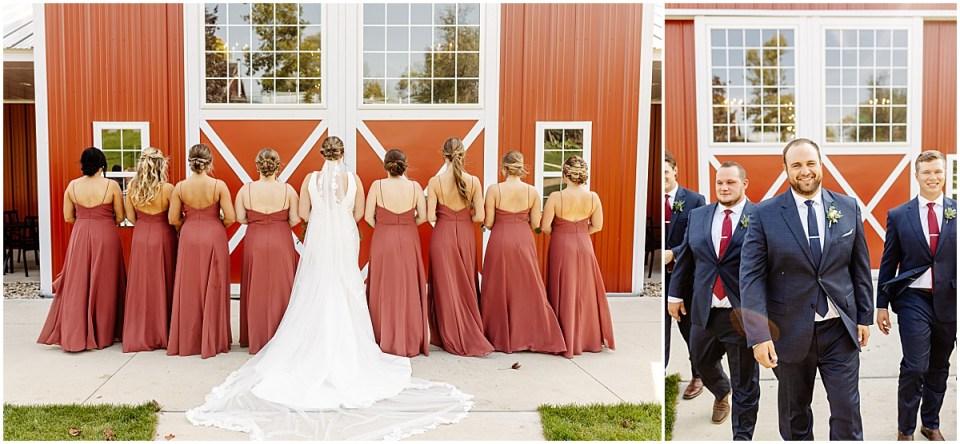 bridal party at red barn farm