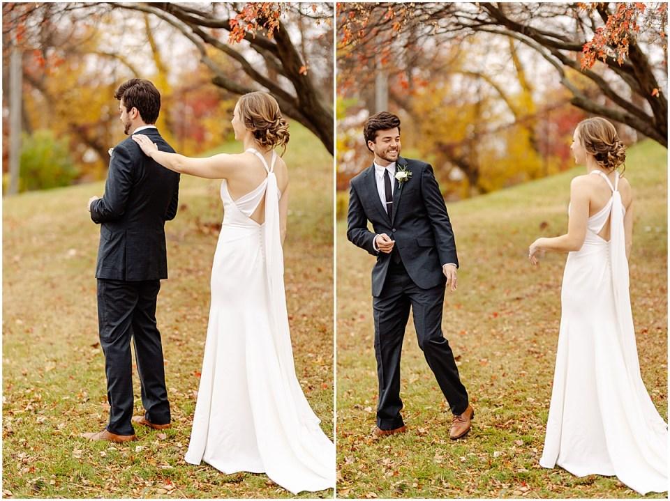 first look backyward wedding