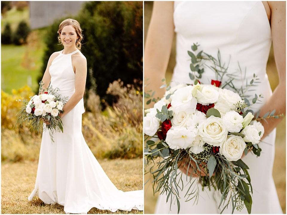brides BHLDN dress and florals