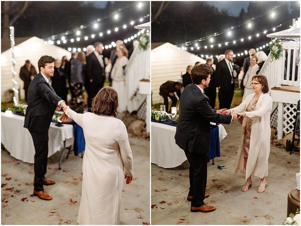 fall backyard reception dance
