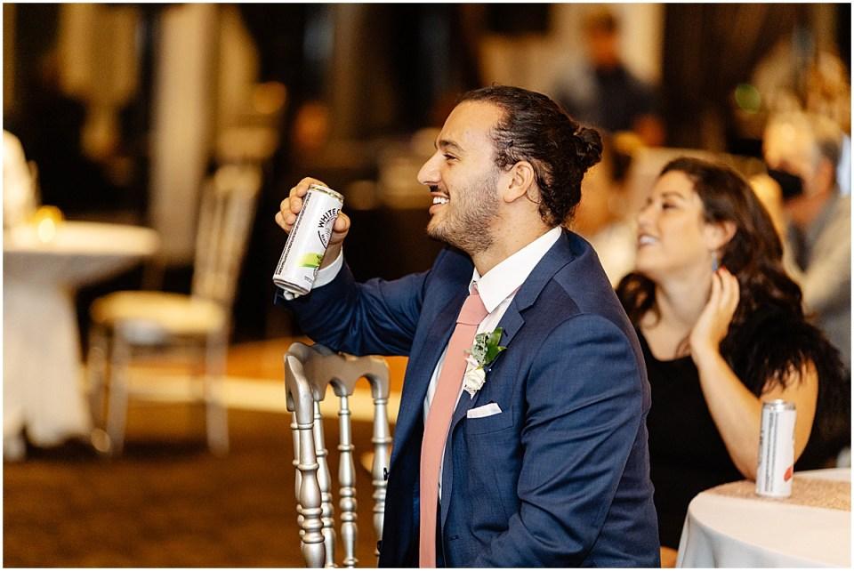 toasts inside Leopold's Mississippi Gardens Wedding