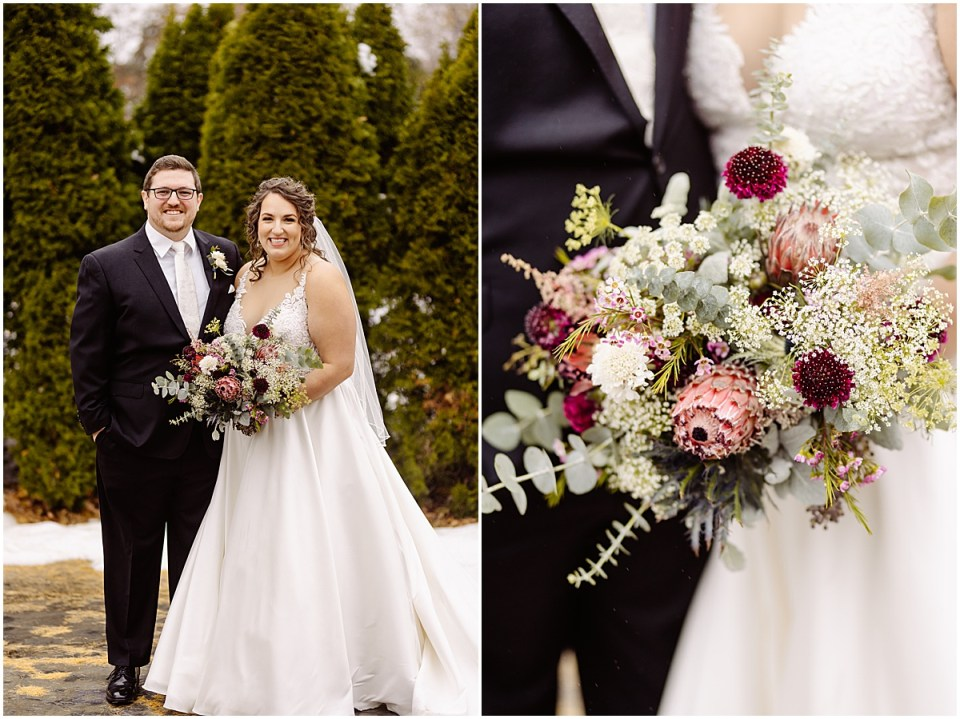 wedding portraits at St. Paul College Club with Ashley Skeie florals Minnesota