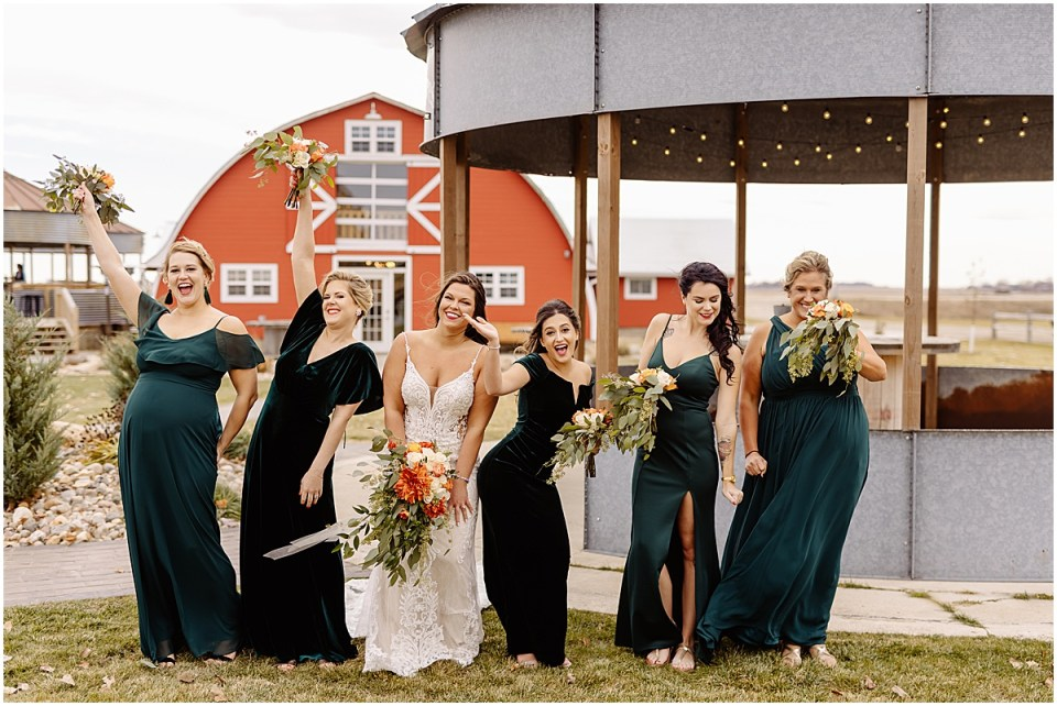 fun bridal party group photo at Swiss Acres Wedding at Reception Barn