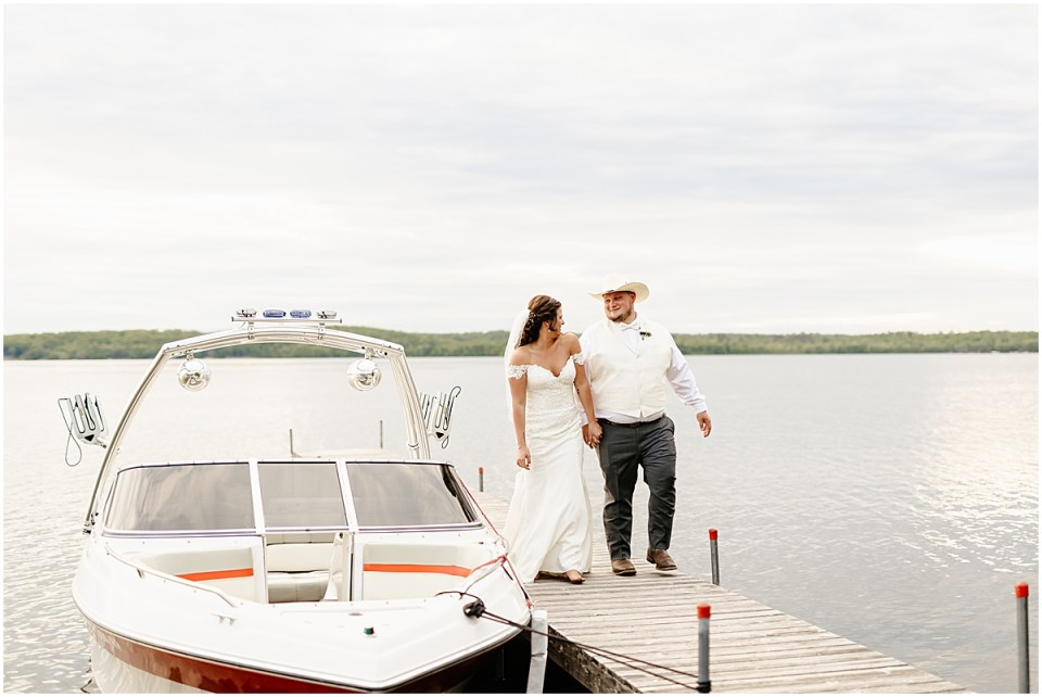 Wedding at Maddens Resort with their boat