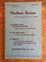 Northern Review (1945-1956), edited primarily by John Sutherland following the merger of Preview and First Statement. An important link between the ferment of the 1940s and the establishment of Contact Press in the 1950s. Dudek and Souster's correspondence surrounding their increasingly frustration with Sutherland's editing practices demonstrate one reason that Souster launched Contact magazine in January 1952.