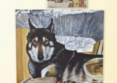 2012-09 - Commissioned Pet Portrait Painting - Rebel I with printout