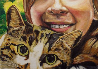 2012-12 - Commissioned Pet Portrait Painting - Crystal the Cat with Pauline