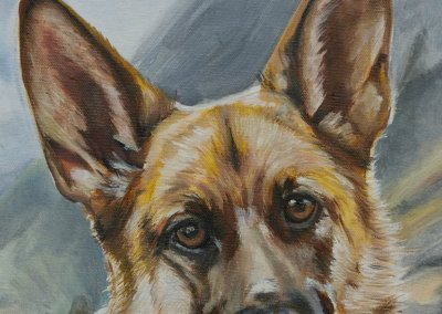 2014-12 - Commissioned Pet Portrail Painting - Lily GSD - Detail