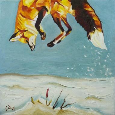 2017-01 – Original Painting by Cameron Dixon – Fox Pounce 1