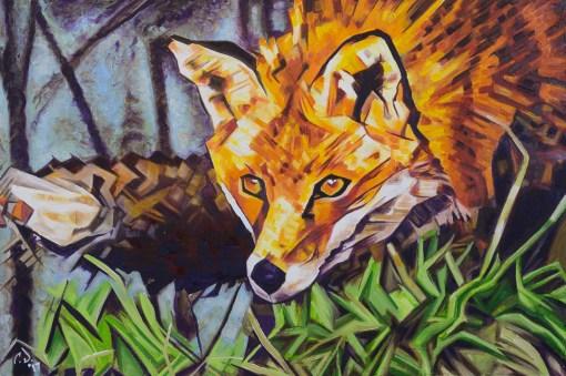 2017-02 – Original Painting by Cameron Dixon – The Surreptitious Stalker (Fox)
