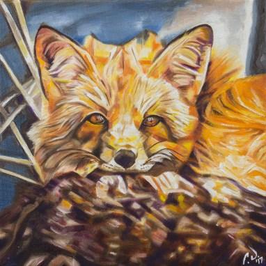 2017-03 – Original Painting by Cameron Dixon – Cozy Fleece Fox