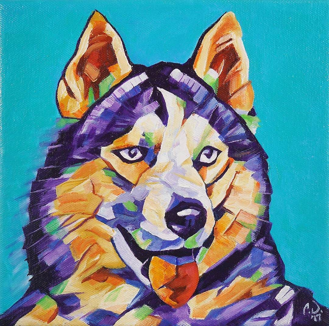 PopArt Husky - 8in x 8in - Oil over Acrylic.  This painting will be available for purchase on my website in the upcoming week and prints/products will be available soon. Owwwwwwwwooooooohh!!! Purchase custom commissions direct through my Etsy shop: https://goo.gl/bQyD43  Pricing: www.camerondixon.com/pricing