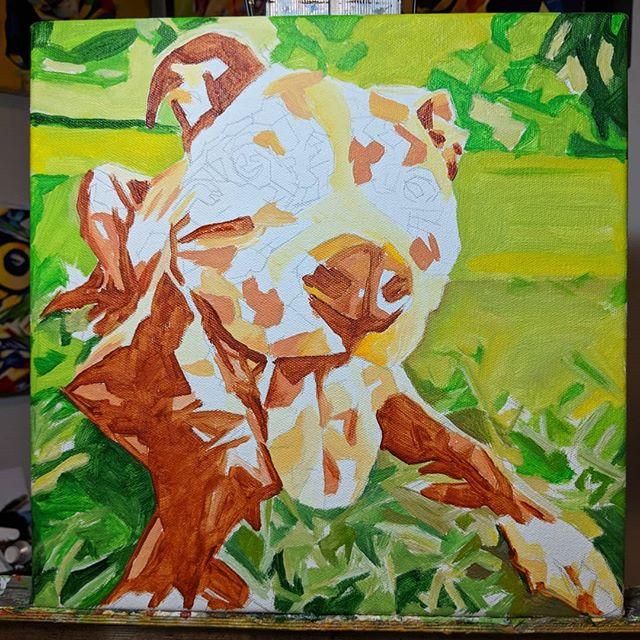 Work in progress Pet Portrait Kane 12in x 12in x 1.375in  Putting down the base acrylic layers to map out colour ideas and generalized shapes of the subject. Swipe to see the original image I am working from. Looking for a custom made painting of your pet or something else? www.camerondixon.com  Purchase directly through my Etsy shop: https://www.etsy.com/shop/CameronDixonsArt?ref=seller-platform-mcnav