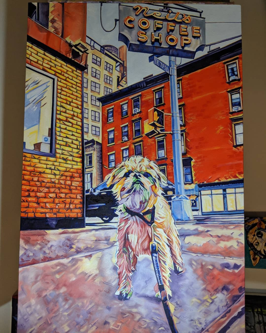 Pop Art Pet Portrait Wilmer 24in x 36in x 1.375in Oil over Acrylic  Via a photo I took of Wilmer in front of Neil's Coffee Shop in Upper East Side near Hunter College.  I use high-quality heavyweight stretched canvases, and recreate your submitted image into a fun, bright new work of art using an acrylic base with oil paint top coats. My services usually take 3-6 weeks dependant on how busy I am and how may other projects I have to complete.  My Website: www.camerondixon.com  Purchase my work on my Etsy: www.etsy.com/shop/CameronDixonsArt  Follow me on Instagram: https://www.instagram.com/cameron_dixons_art/  Follow me on Facebook: https://www.facebook.com/cameron.dixon.art