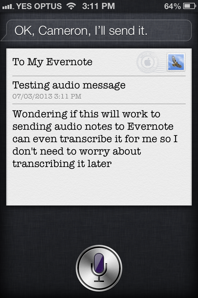 use siri to get audio notes into evernote