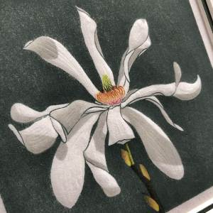 handmade woodblock print of a white magnolia stellate flower against a dark green background