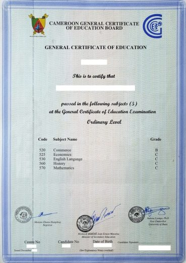 recover lost Cameroon GCE O/A level certificate