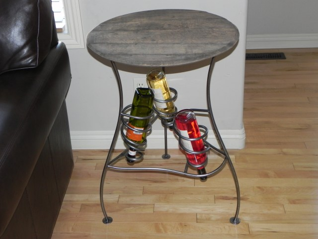 Whiskey Barrel Top with Iron Art Base Wine Rack