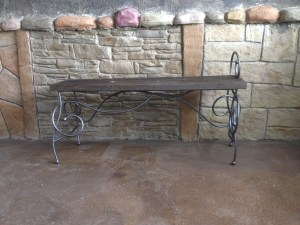 scroll iron art bench