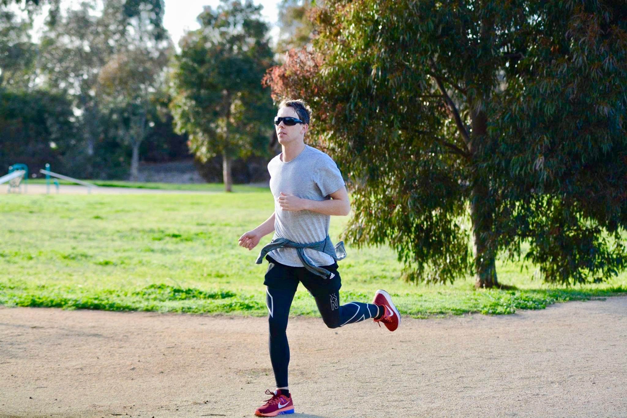 Cameron Howe running at Chelsea's Bicentennial Park