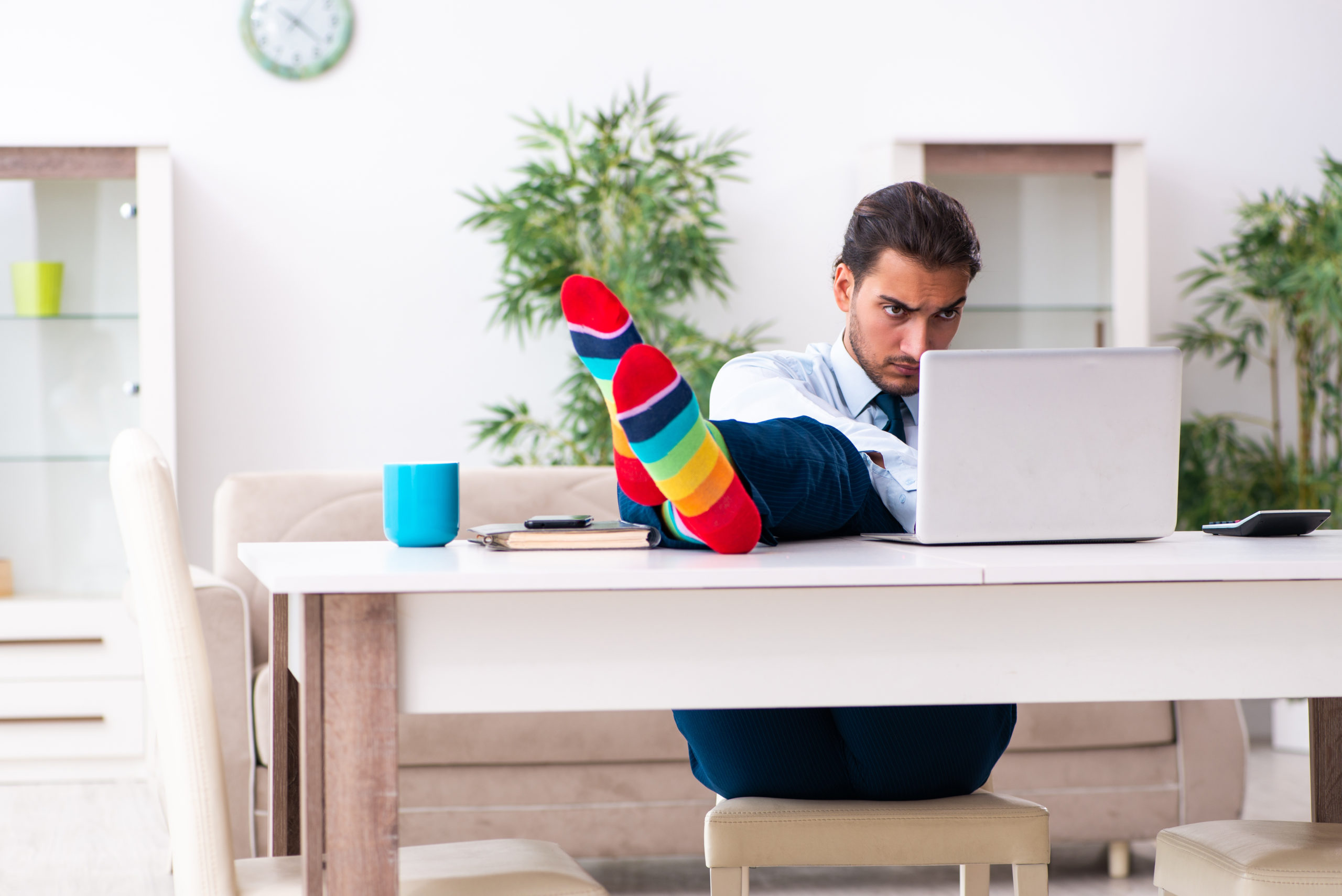 The young male businessman working at home