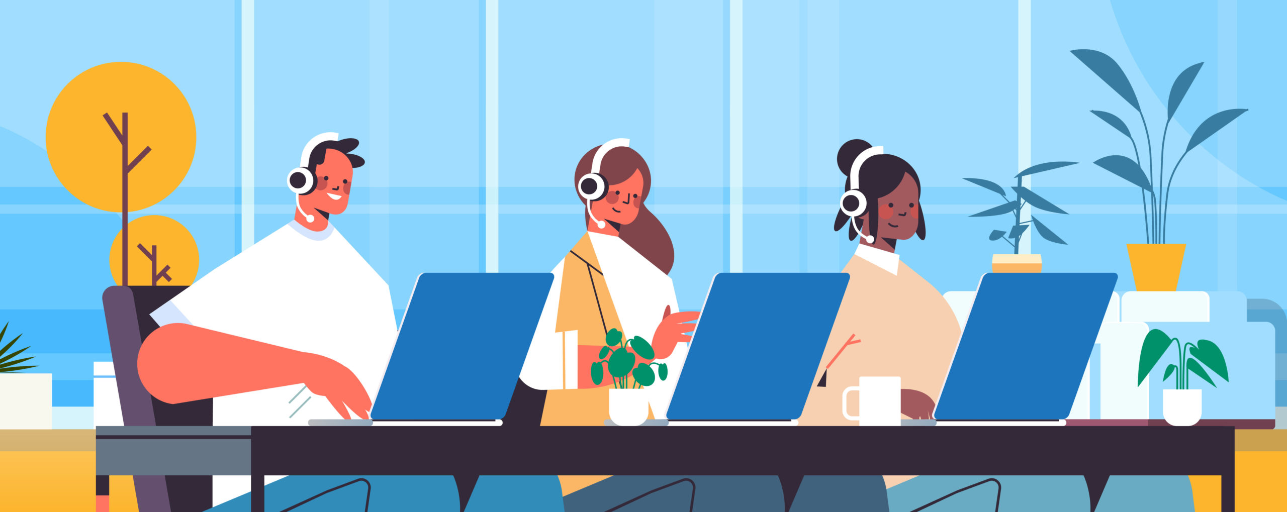 Customer Success Operators with headset are chatting with customers in an office
