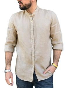 camicia 100% lino sabbia collo coreana
