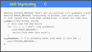 Self-Deprecating Code