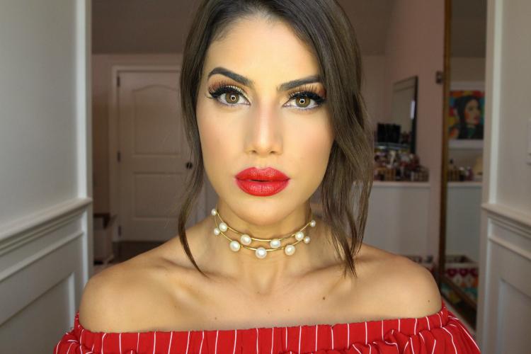 Camila Coelho Bold Red Lip Makeup