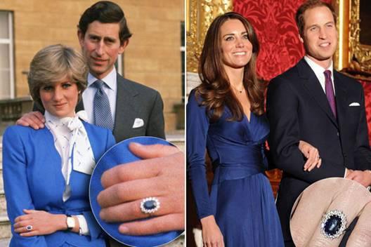 Kate Middleton usou o anel de safira azul que pertenceu a mãe de William, a lady Diane.