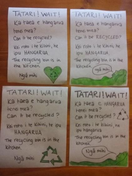 bilingual recycling mini-signs