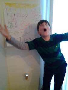 Thomas with 8th Birthday Poster