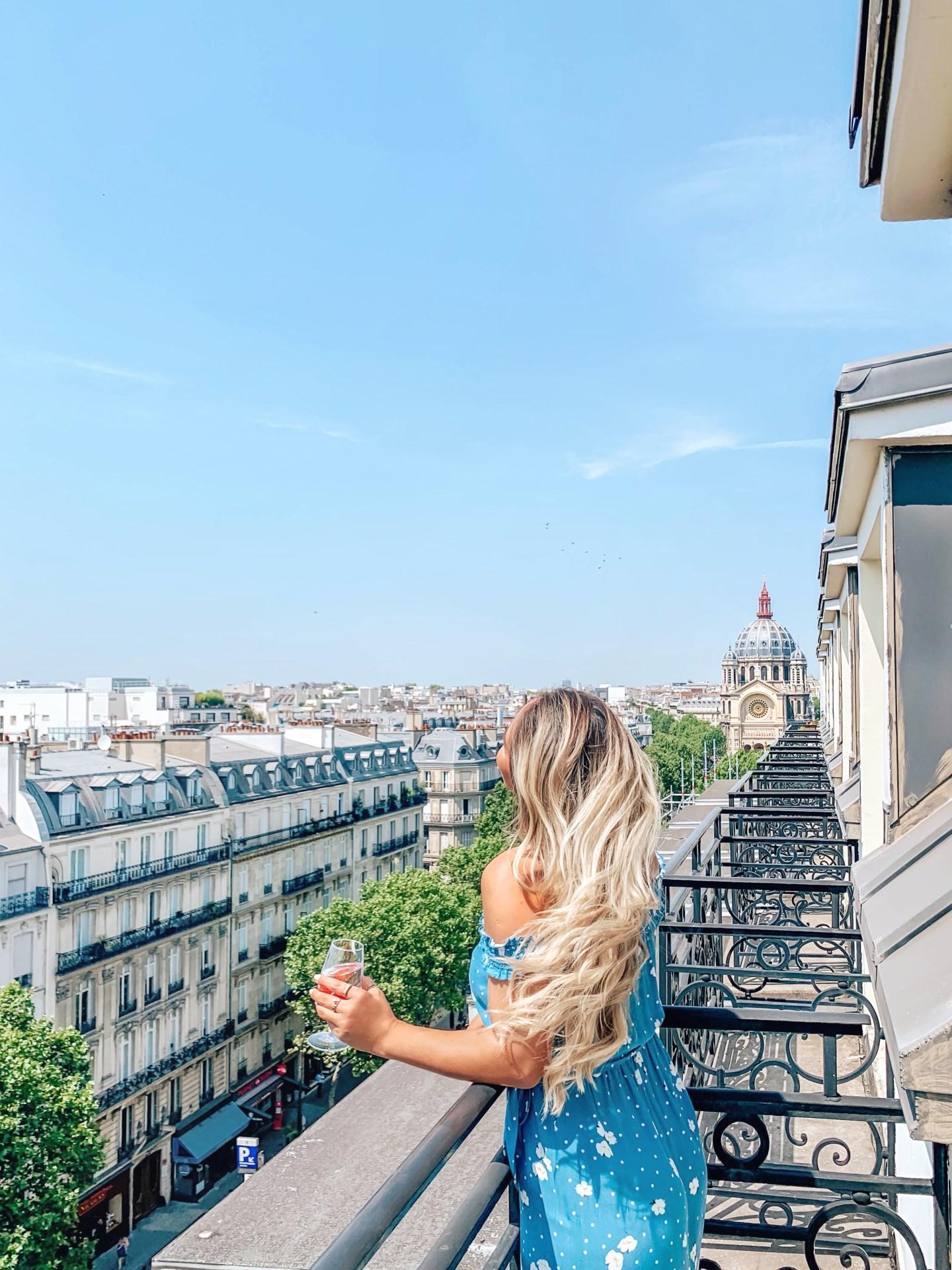 Hyatt Paris Madeleine Eiffel Tower suite Camilla Mount on balcony