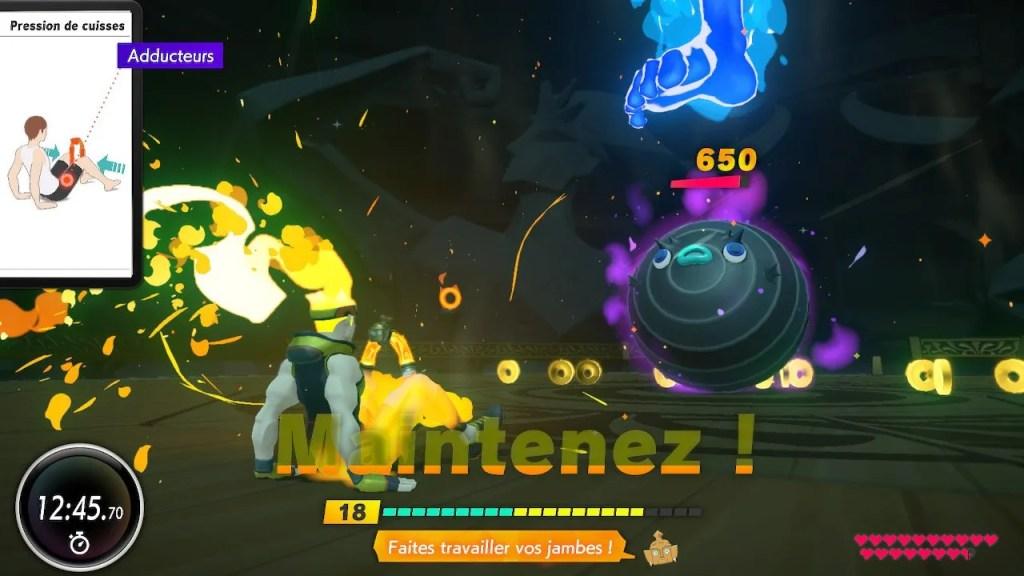 capture d'écran combat contre des monstres dans Ring Fit adventure
