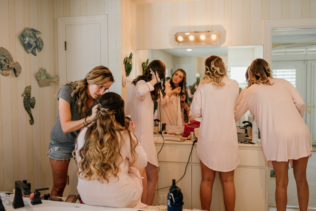 Bridal party getting ready backyard wedding