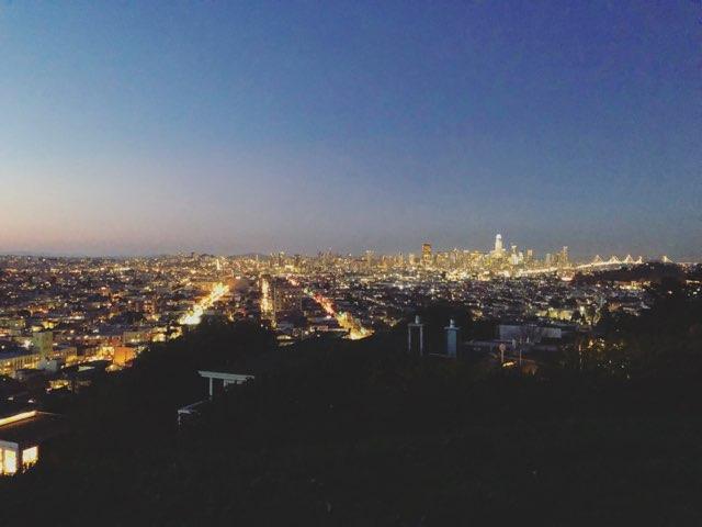 Panoramic view of San Francisco skyline at dusk