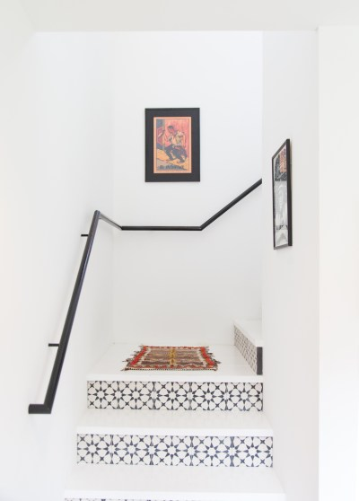 Staircases Tile Stairs Stepping Stones Gray White Minimalistic Interior Black Hand Rail Home Decor Simple is Best Small Rug
