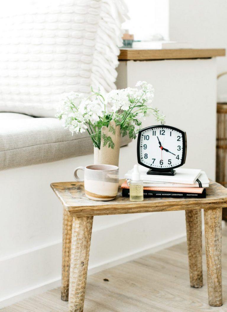 bedside table, clock, tea, sleep