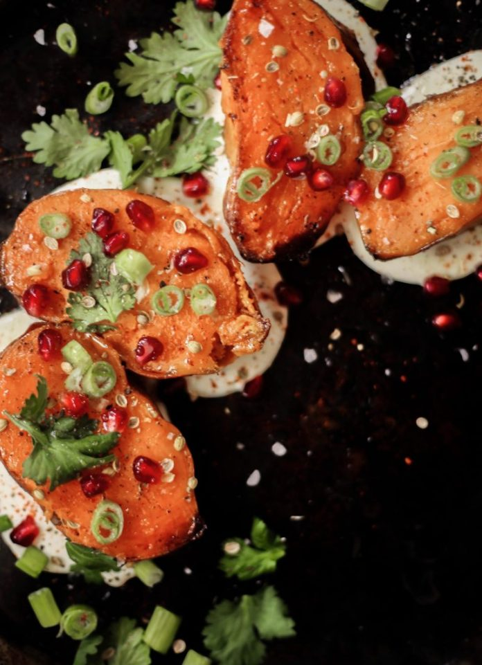 roasted sweet potato with whipped feta, pomegranate, and hot honey