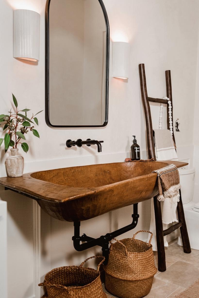 rustic bathroom sink diy with a wood